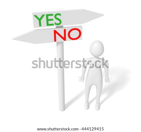 Yes or no: guidepost with 3d man, 3d illustration - stock photo