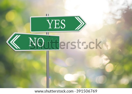 yes or no road signs on nature background - stock photo