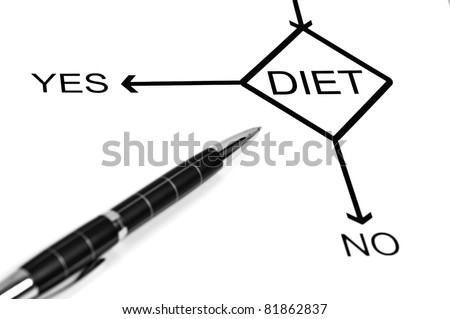 Yes or No to choose Diet - stock photo