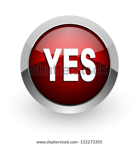yes red circle web glossy icon