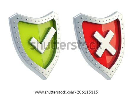 Yes tick and no cross mark signs over the shield surface isolated on white background - stock photo