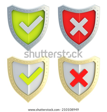 Yes tick and no cross mark signs over the shield surface isolated on white background, set of two color versions, front view - stock photo