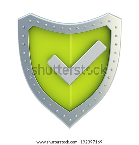 Yes tick metal mark sign over a green shield surface isolated over white background - stock photo