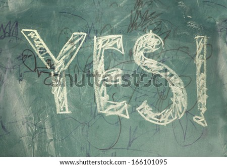 Yes-written with chalk - stock photo