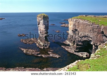 Yesnaby Castle, a rock stack in Orkney, Scotland - stock photo