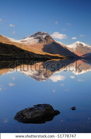 Yewbarrow and Great Gable reflected In Wastwater, English Lake District - stock photo