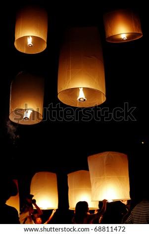 Yi Peng festival, Chiang Mai, Thailand - stock photo
