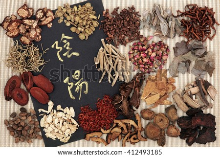 Yin and yang symbols with traditional chinese herbal medicine selection on bamboo. Translation reads as yin and yang. - stock photo