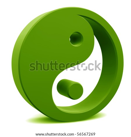 yin yang elements isolated on white