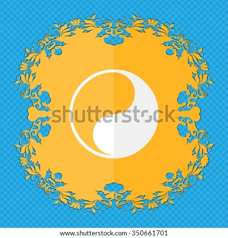 Yin Yang. Floral flat design on a blue abstract background with place for your text. illustration - stock photo