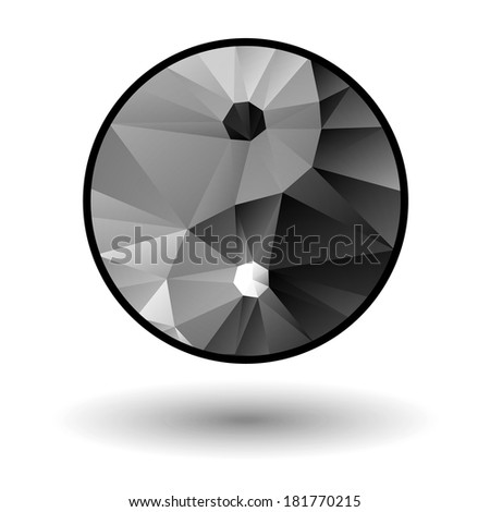 Yin Yang icon. Low poly. Yoga concept. - stock photo