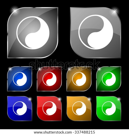 Yin Yang icon sign. Set of ten colorful buttons with glare. illustration - stock photo