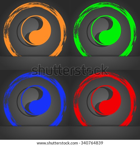 Yin Yang icon symbol. Fashionable modern style. In the orange, green, blue, green design. illustration - stock photo