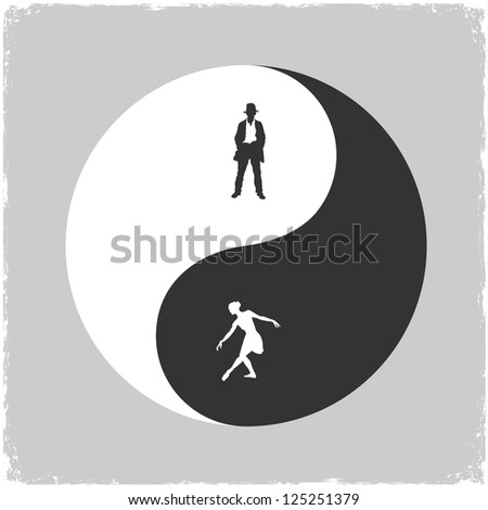 Yin Yang-Male and Female symbol. Raster version - stock photo