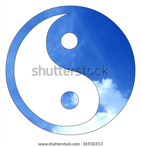 yin yang sign - stock photo