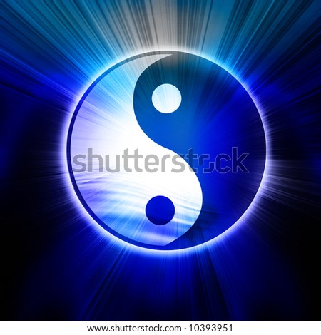 Yin Yang sign on a black background - stock photo