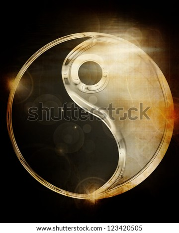 Yin Yang sign on a glowing background - stock photo
