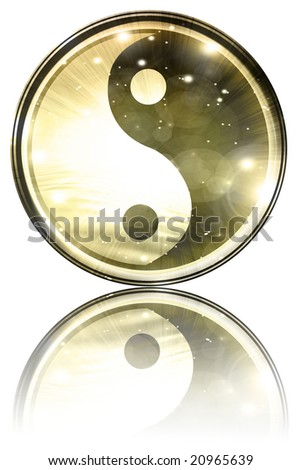 Yin Yang sign on a white background - stock photo