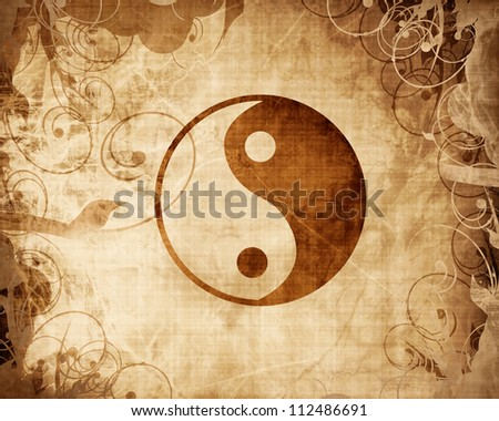 Yin Yang sign with some highlights and reflections - stock photo