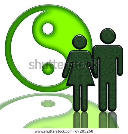 Yin yang symbol and couple isolated over white background - stock photo
