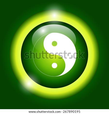 Yin Yang Symbol - Black and White  Illustration - stock photo