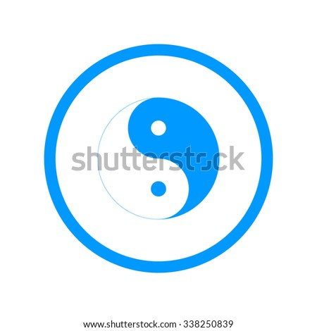 Yin Yang Symbol - Black and White Illustration - stock photo