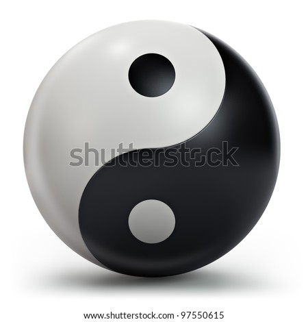 Yin Yang symbol, 3d model - stock photo