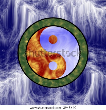 yin yang symbol depicting the 4 elements--earth, wind, fire and water - stock photo