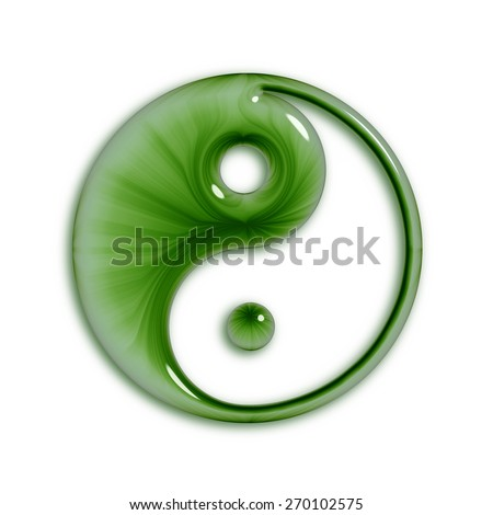 Yin Yang symbol in green, with an abstract swirling pattern and a shiny, glossy glass texture. Isolated on a white background.