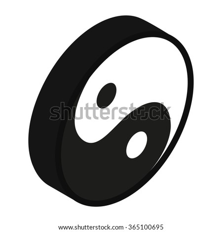 Yin yang symbol isometric 3d icon on a white background - stock photo