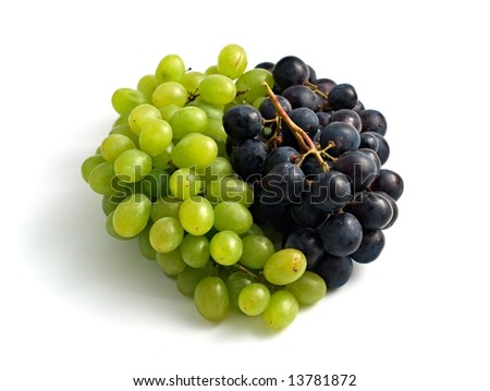 yin-yang symbol made from white and black grape