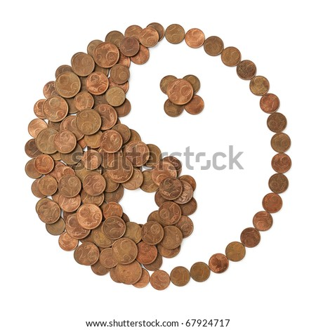Yin Yang symbol made of EU Euro cent coins isolated on white background. A concept of harmony and balance in finances - stock photo