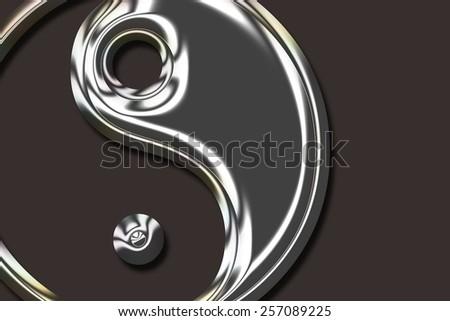 Yin Yang Symbol - metallic - stock photo