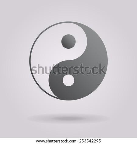 Yin yang symbol of harmony and balance. The illustration on gray background - stock photo