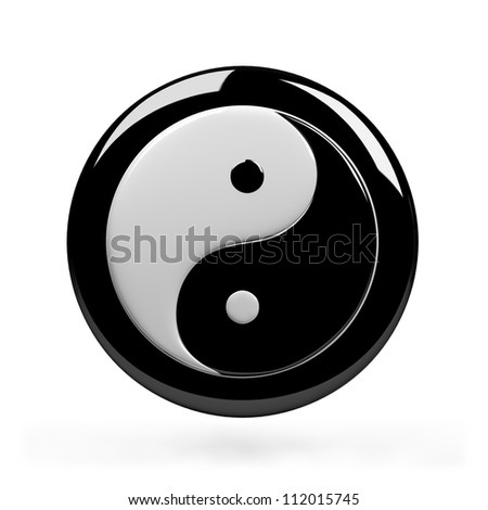 Yin yang symbol of harmony. 3d image. Isolated white background. - stock photo