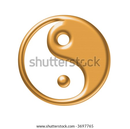 Yin-Yang, symbol of harmony  of man and woman - stock photo