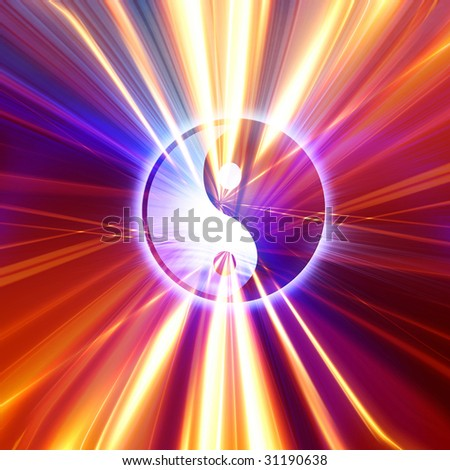 yin yang symbol on a colorful background - stock photo