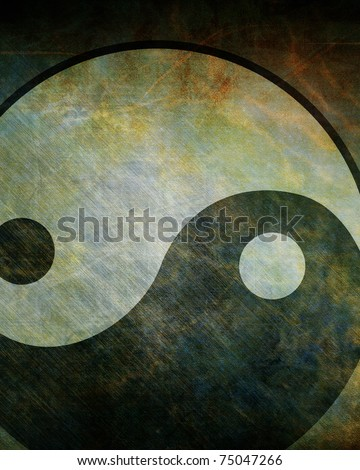 Yin yang symbol on a grunge background - stock photo