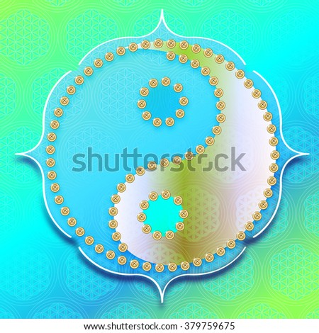 yin yang symbol on background with flower of live symbol - stock photo