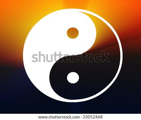 Yin yang symbol oriental representation of duality - stock photo