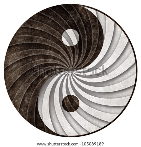 Yin Yang symbol with grunge texture processing and a shaded revolving pattern to create more depth and contrast. Isolated on a pure white background.