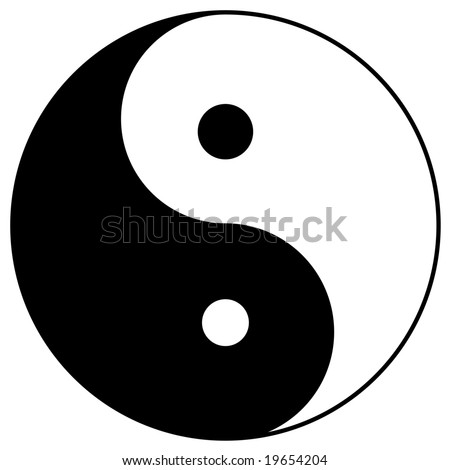 yin yang, taoistic symbol of harmony and balance - stock photo