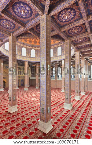 YINCHUAN-CHINA-JULY 19,2012. Mosque interior on July 19, 2012 in Yinchuan.  The mosque is on the Hui Cultural Park. It is the only one exhibition area of the Islamic Hui ethnic culture in the country.