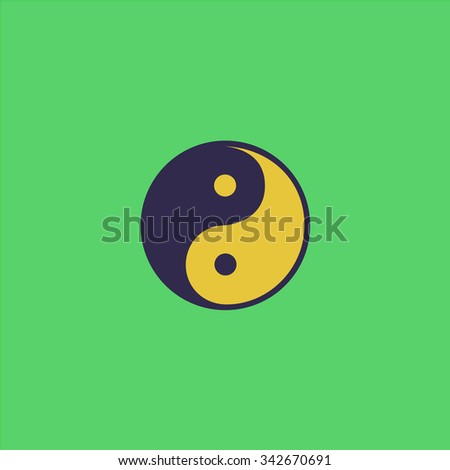 Ying-yang icon of harmony and balance. Colorful retro flat icon - stock photo