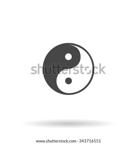 Ying-yang icon of harmony and balance. Flat icon on grey background with shadow - stock photo