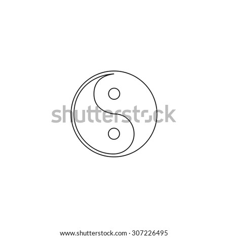 Ying-yang icon of harmony and balance. Outline black simple symbol - stock photo