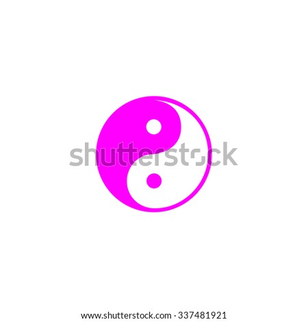 Ying-yang icon of harmony and balance. Pink icon on white background. Flat pictograph - stock photo