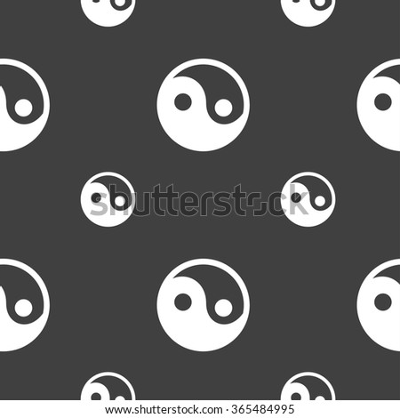 Ying yang icon sign. Seamless pattern on a gray background. illustration - stock photo