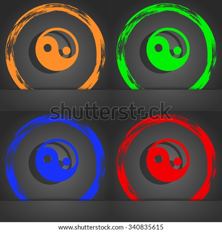 Ying yang icon symbol. Fashionable modern style. In the orange, green, blue, green design. illustration - stock photo
