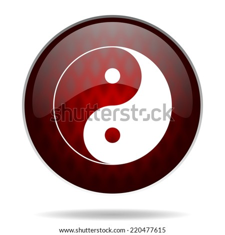 ying yang red glossy web icon on white background  - stock photo